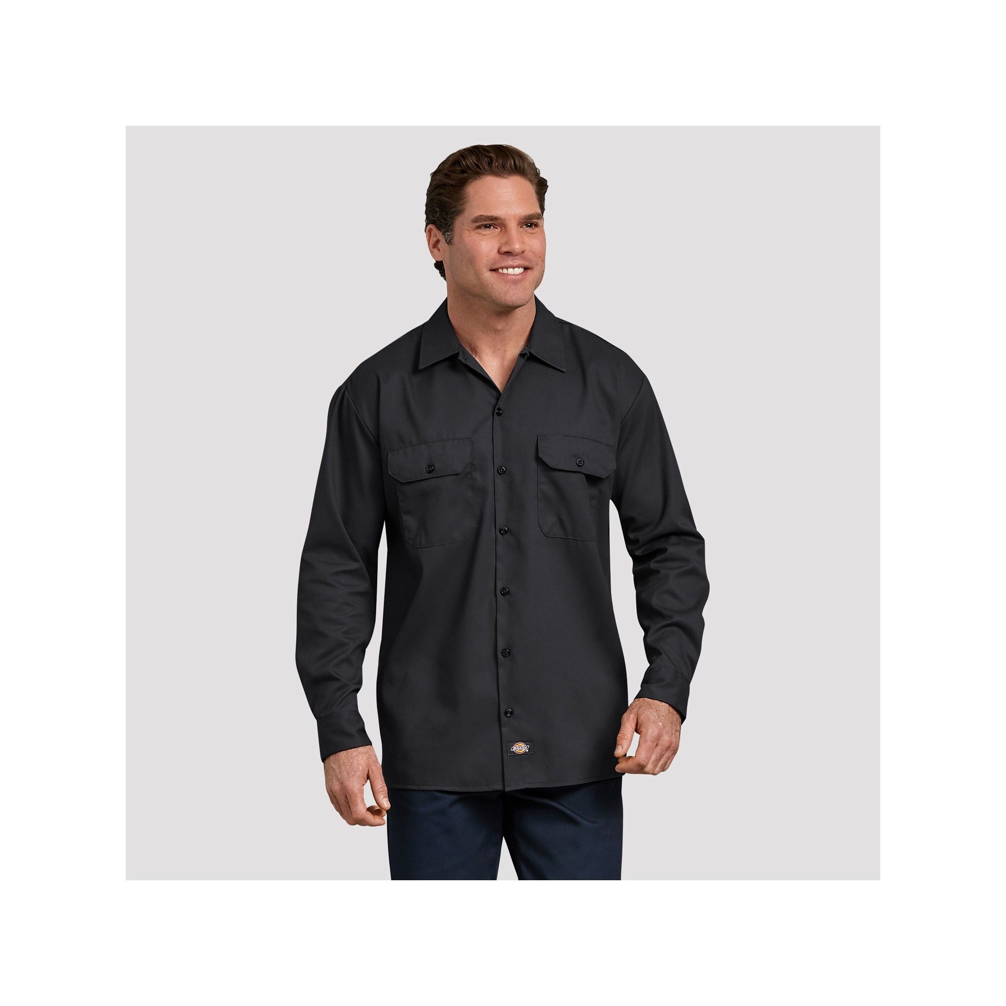 4785f2ca3d Dickies Men s Big   Tall Relaxed Fit Long Sleeve Button-Down Shirts - Black  3XL
