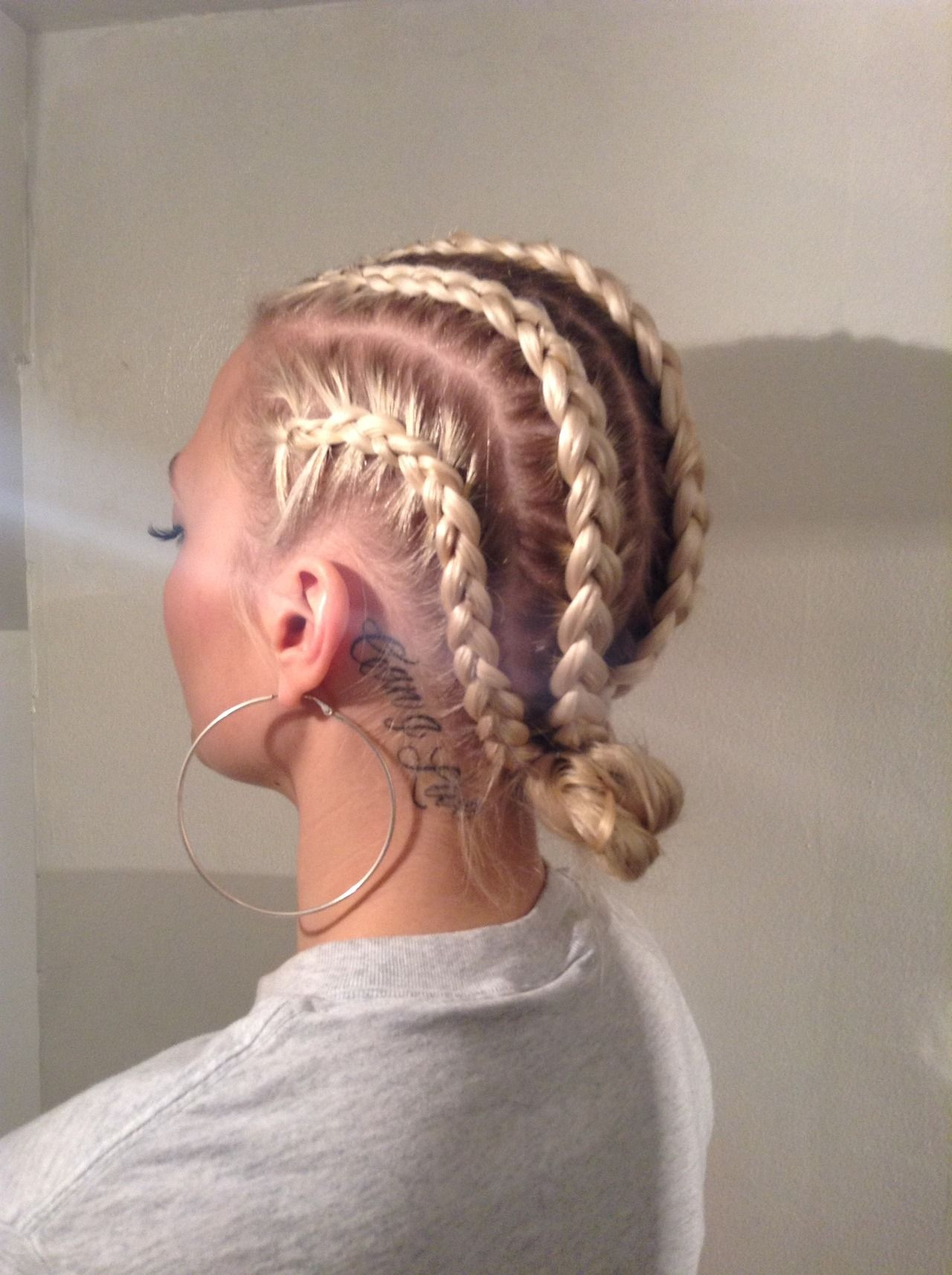 Blonde Cornrows And Tattoos Tomboystyle Tomboy Cornrows
