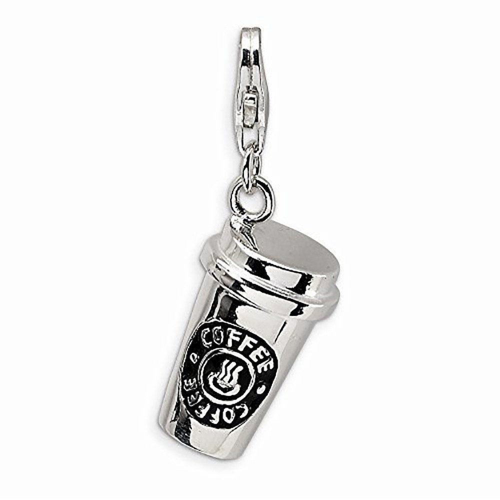 925 Sterling Silver Polished Rhodium-plated Lobster Claw Closure Pendant Necklace