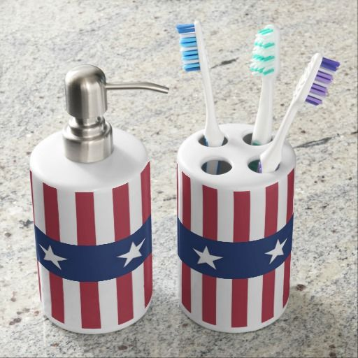 Bon A Patriotic Bathroom Set With Toothbrush Holder And Soap Dispenser With A  Stars And Stripes Design