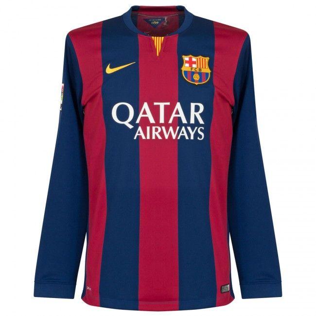Men's 2014/15 FC Barcelona Luis Suárez 9 Long Sleeve Home Soccer Jersey