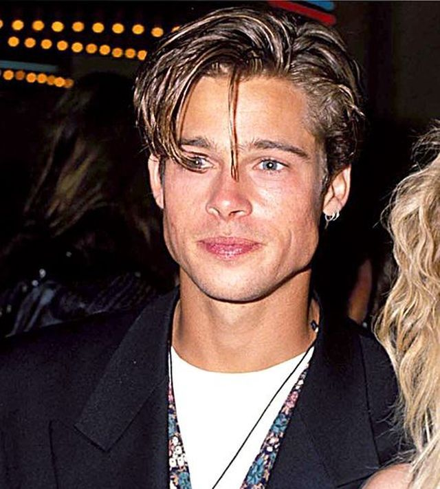 This is a picture of Brad Pitt during the 90 s. Hairstyles for men changed  too. they would go for the messy long look. they would normally part their  hair ... 56e2a531ba4d