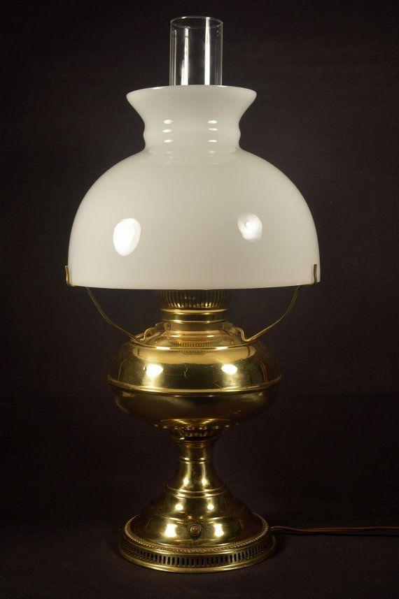 Brass Oil Lamp Converted Light Fixture Milk Glass Shade Looks Like