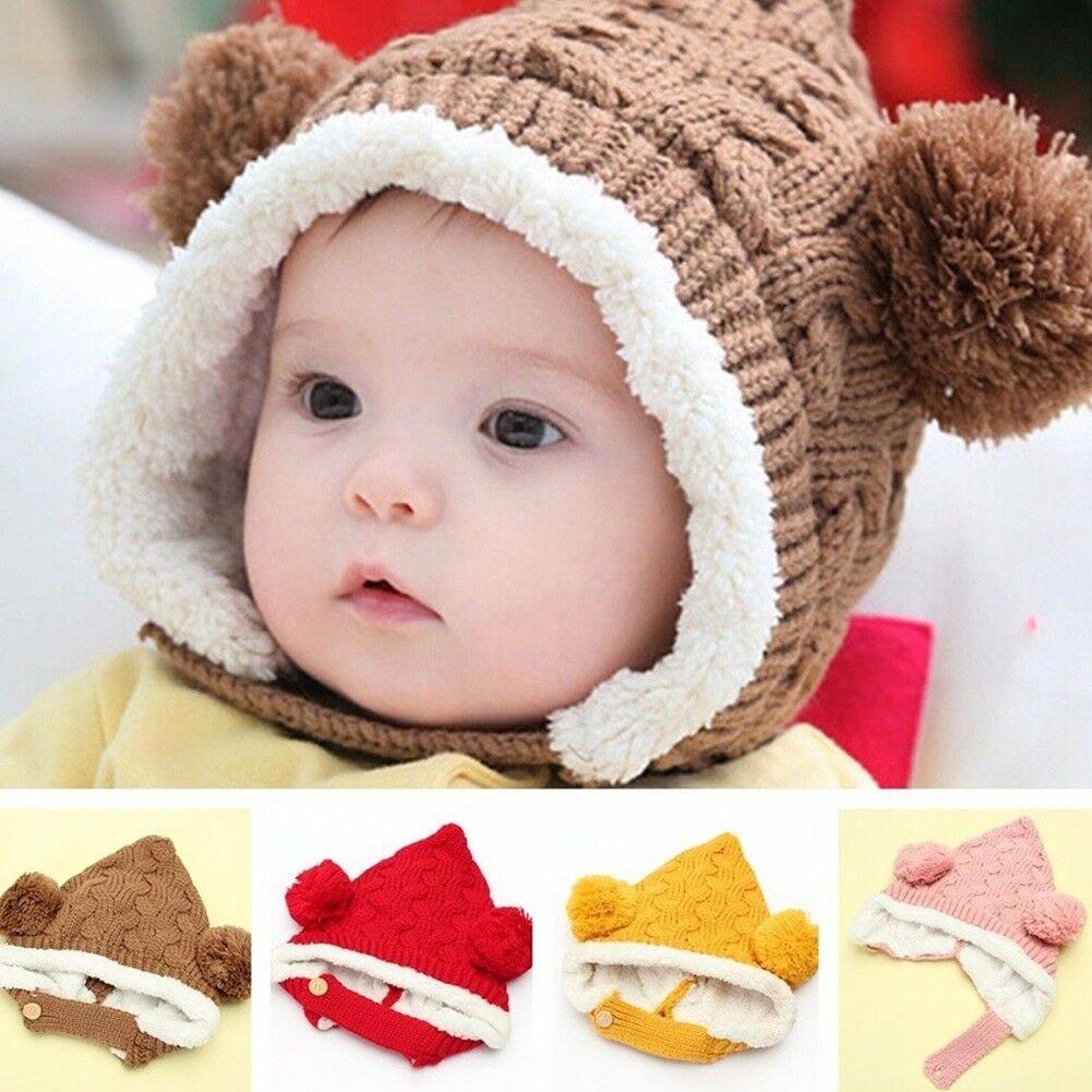 a3232301a95 Kid Baby Girl Boy Toddler Winter Warm Knitted Beanie Hat Caps Earmuffs Ball  USA