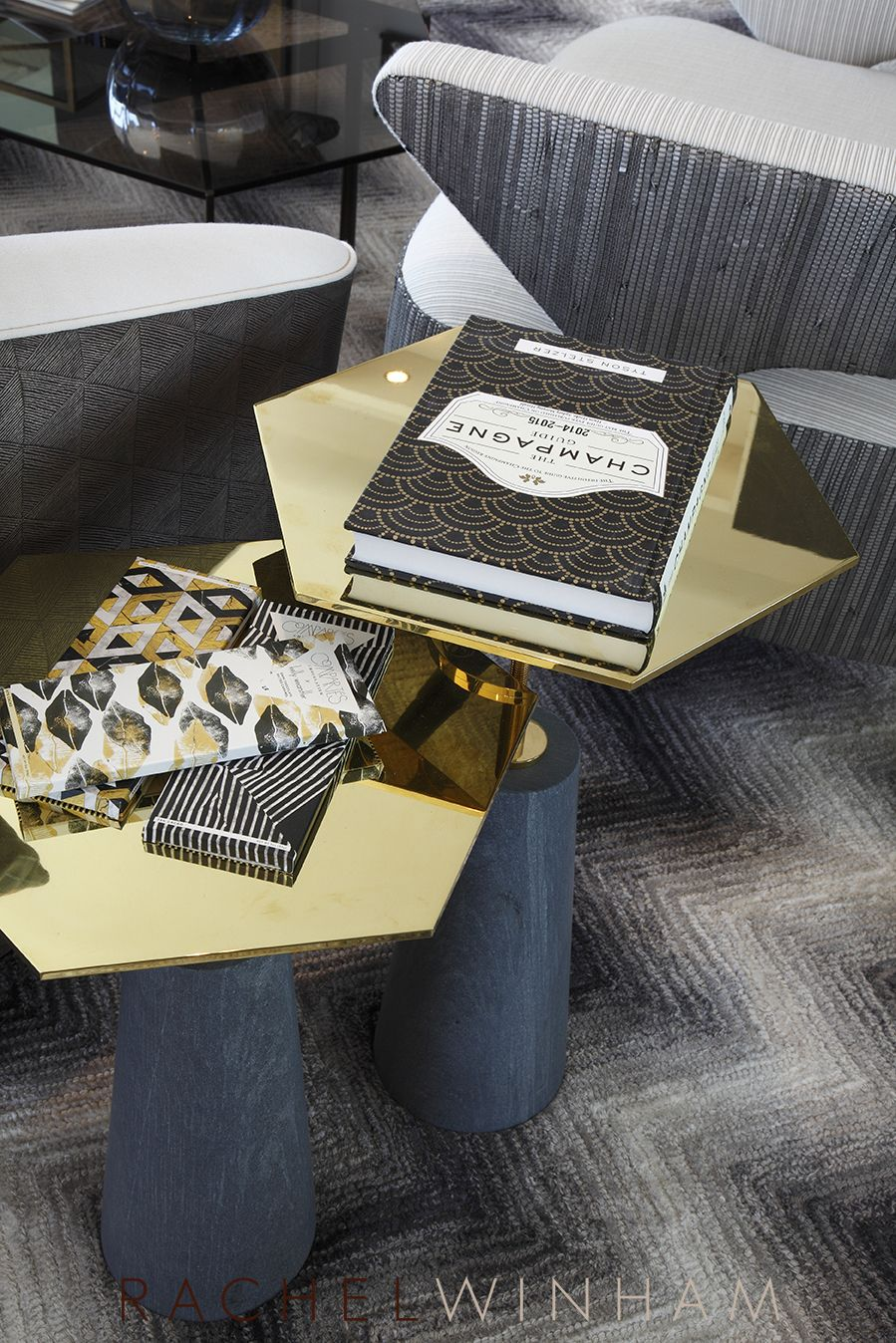 Hexagonal Brass Side Tables Recently Used By Rachel Winham Interior Design  At A Project At Southbank