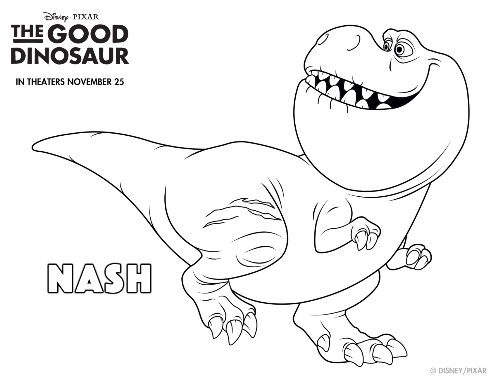 Get rough and tough with this Good Dino coloring sheet Meet Nash in theatres this Coloriages GratuitsFeuilles De Coloration