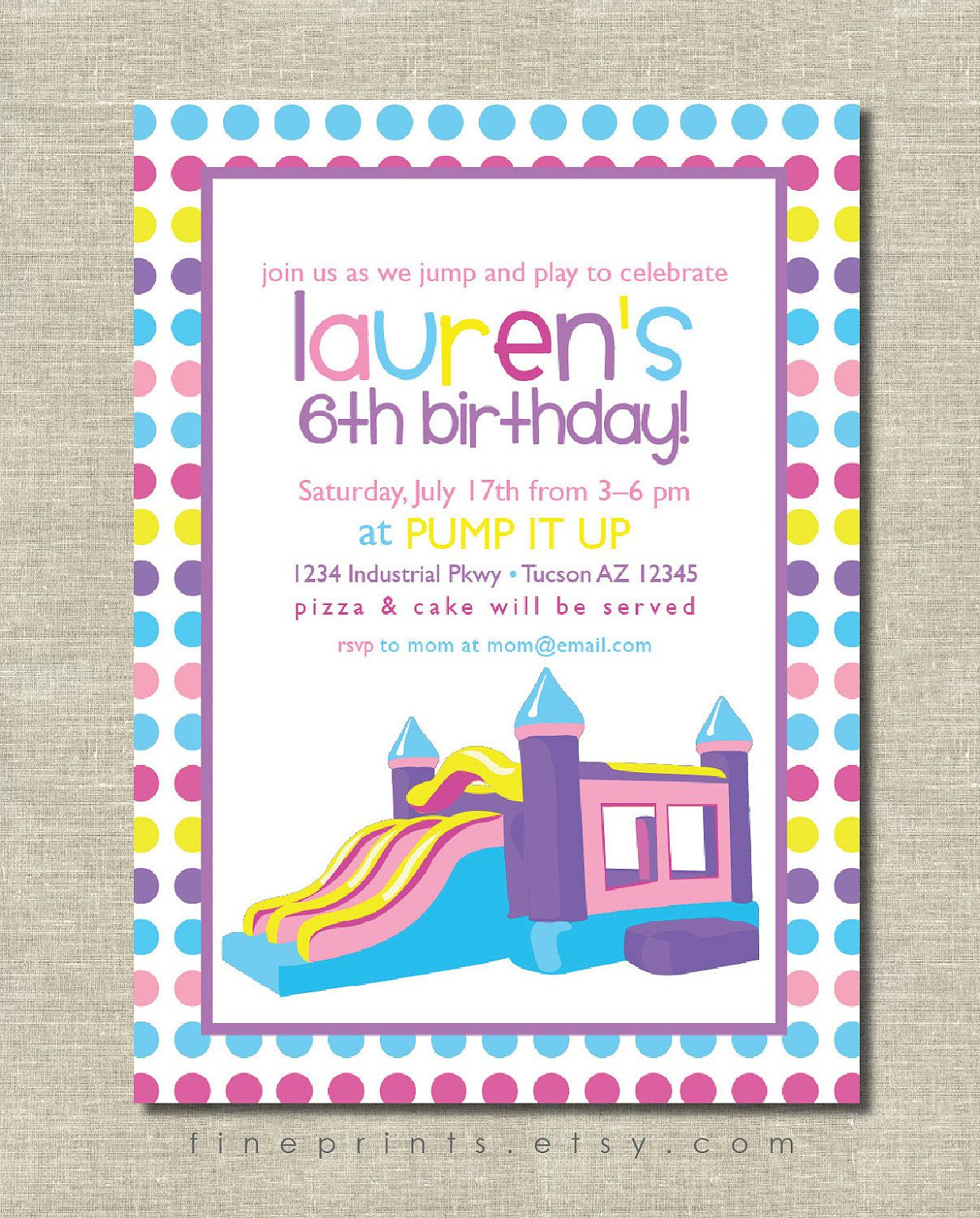 bounce house jumping castle birthday party invitation. $15.00, via ...
