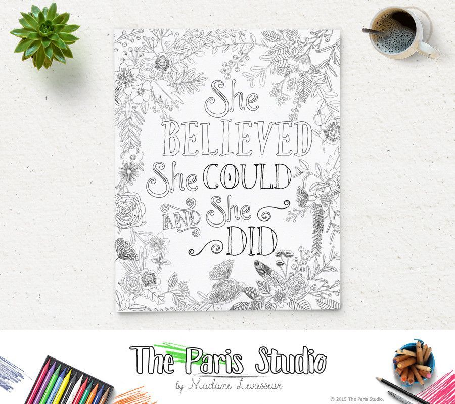 Printable Coloring Page She Believed She Could Printable Adult