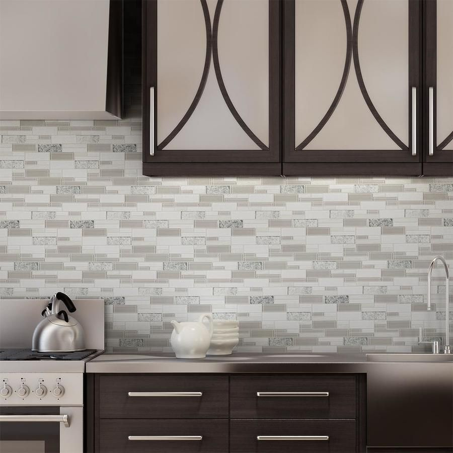 Luxury Light Glass Mosaic Tile Installed On A Contemporary Kitchen