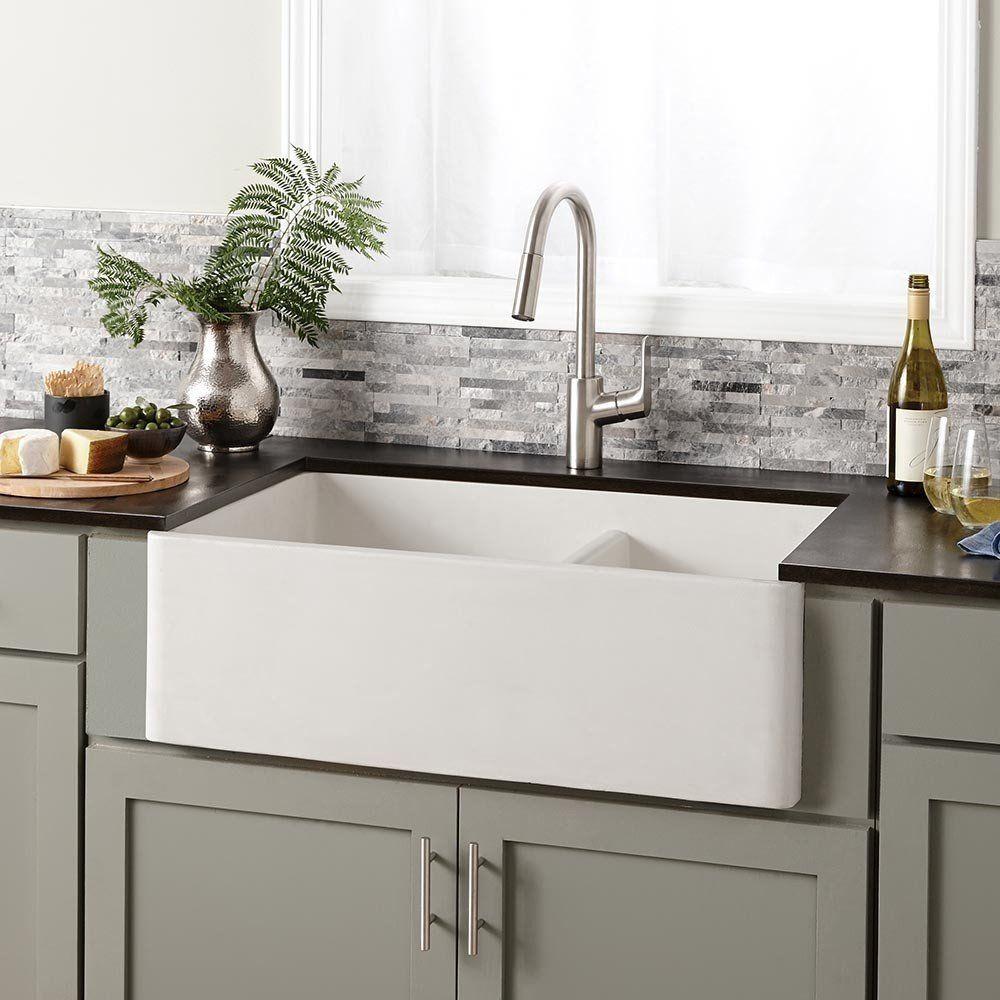 farmhouse double 33 inch nativestone apron front kitchen sink | farmhouse sink kitchen, concrete