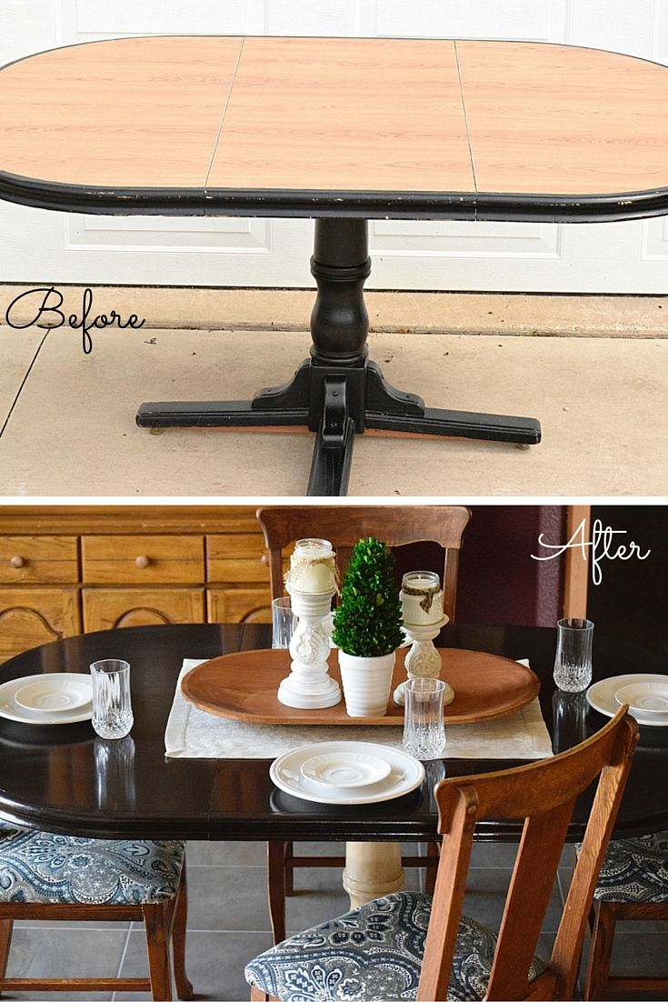 Stain A Laminate Topped Table Timeless Creations Dining Room Table Makeover Kitchen Table Makeover Dining Table Makeover