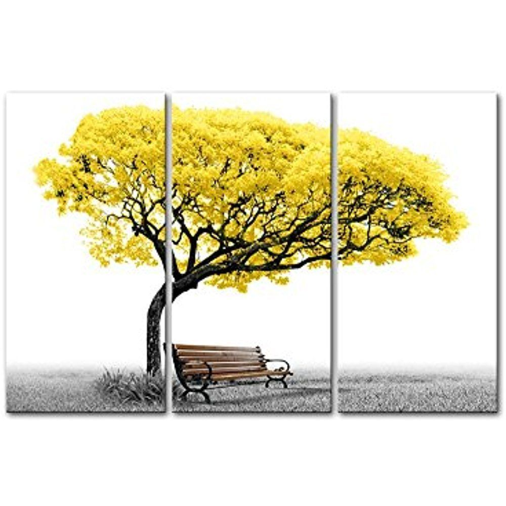 Framed] Yellow Tree Park Bench Modern White Canvas Wall Art Photo ...