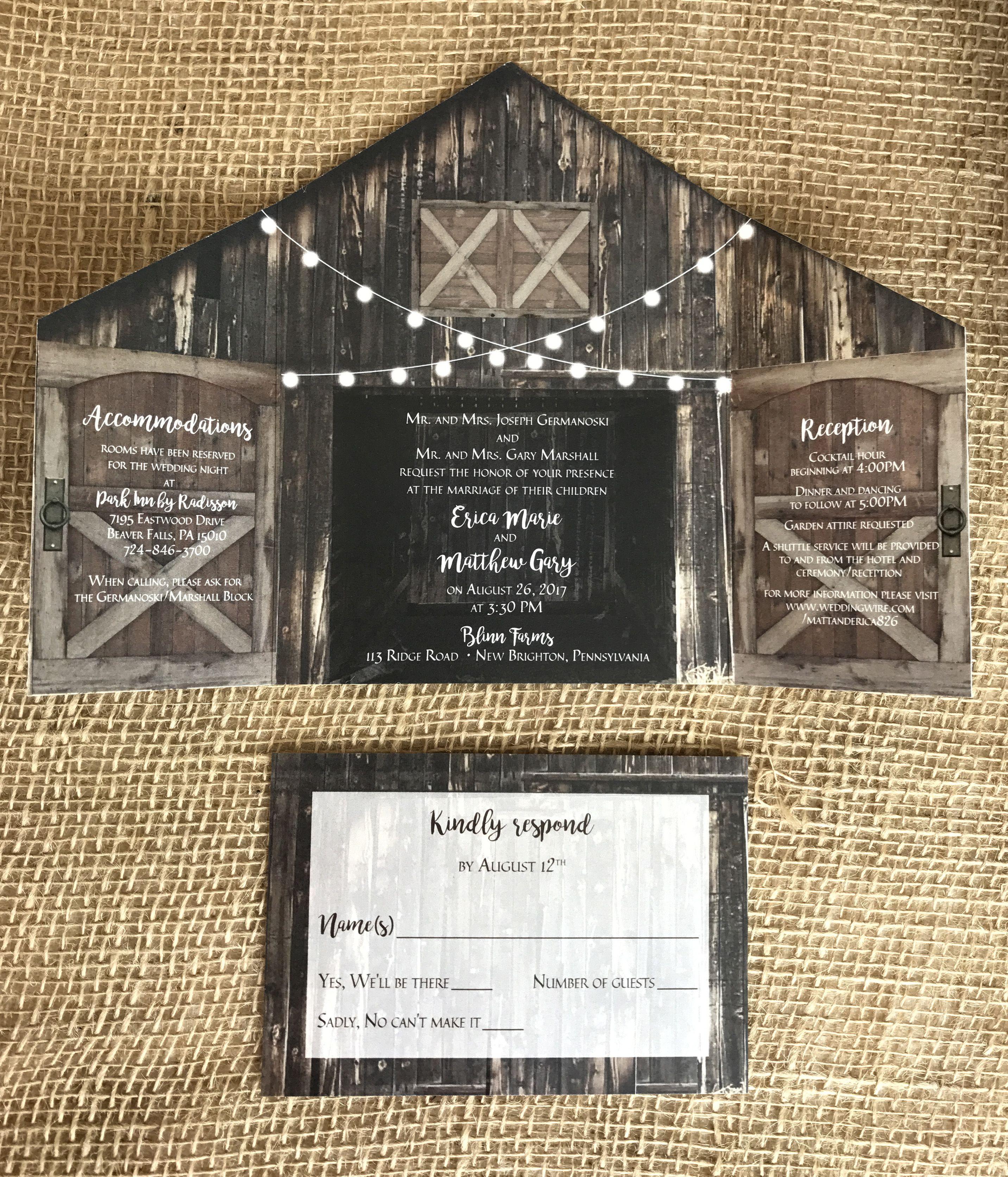 Rustic Barn Wedding Invitation With Folding Doors And Strings Etsy Barn Wedding Invitations Wedding Invitations Rustic Country Rustic Barn Wedding