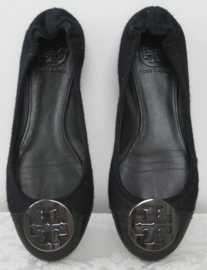 Tory Burch Reva flat. Black wool with leather toe. Has pewter logo circle  detail
