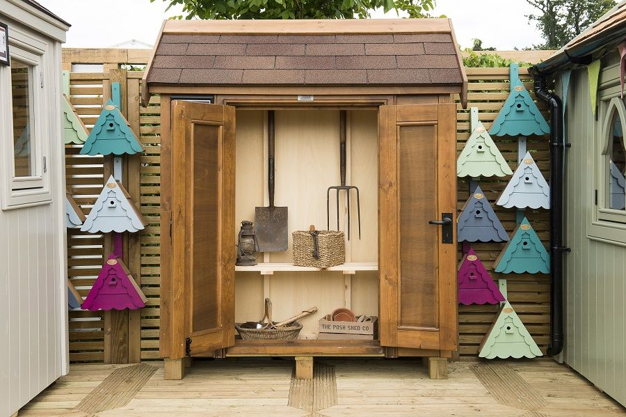 Our Outdoor Double Cupboard, finished in Classic Brown. Featuring out 2015 Edition Bird Box!