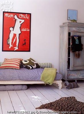 Mon Oncle poster and Marimekko pillow, red + blue dynamics.