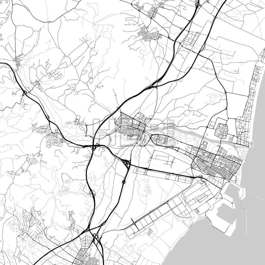 Sagunto Valencia Spain Downtown Vector Map Valencia spain