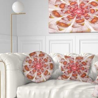 Designart 'White Brown Fractal Flower' Floral Throw Pillow