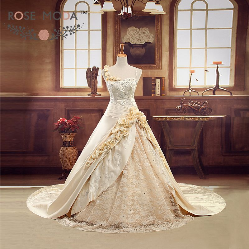 Find More Wedding Dresses Information about Luxury Champagne Gold ...