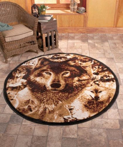 New Rustic Country Cabin Wildlife Decor Wolf Wolves Round Rug Size 5 Home Oh Yes I So Want This