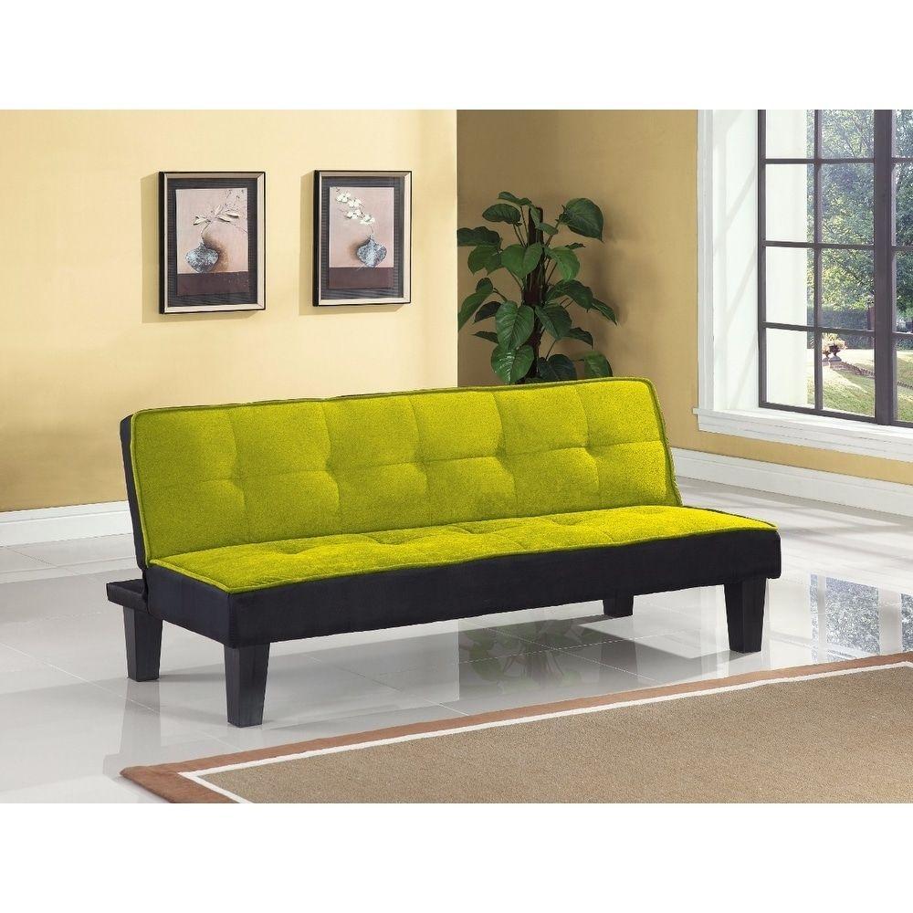 Flannel Fabric Adjustable Sofa, Green, Benzara Sofa bed