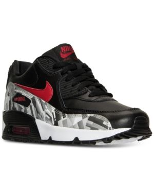 e627ad856b40 Nike Boys  Air Max 90 Print Leather Running Sneakers from Finish Line -  Black 7