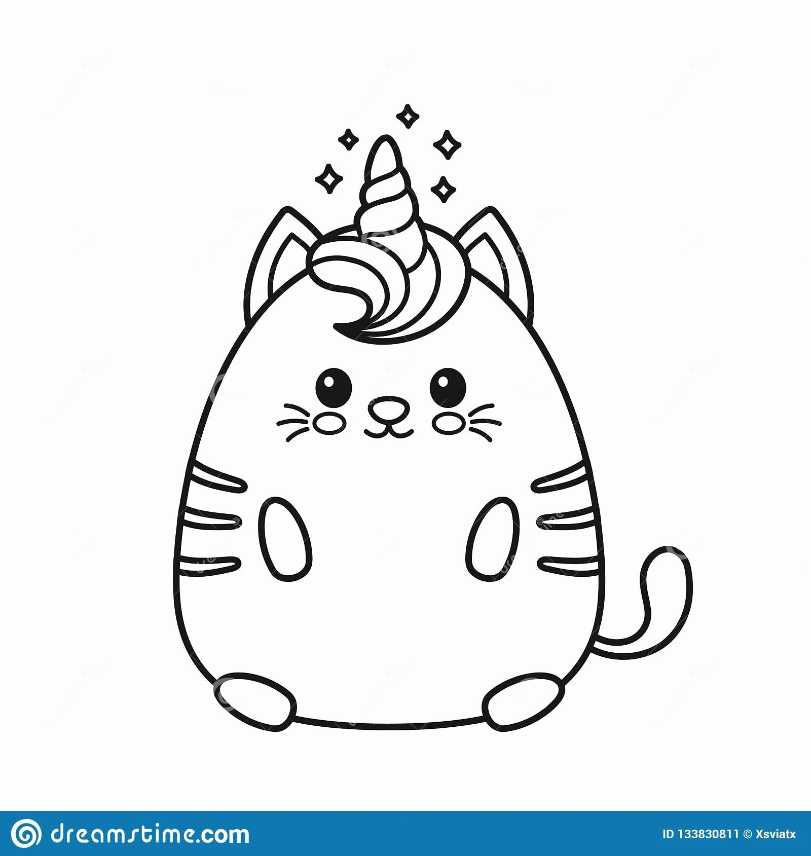 Unicorn Kitty Coloring Pages Lovely Cute Happy Smiling