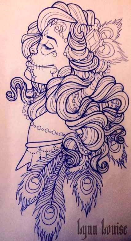 Best Tattoo Ideas Female Thigh Sugar Skull Day Of The Dead Ideas   tattoo