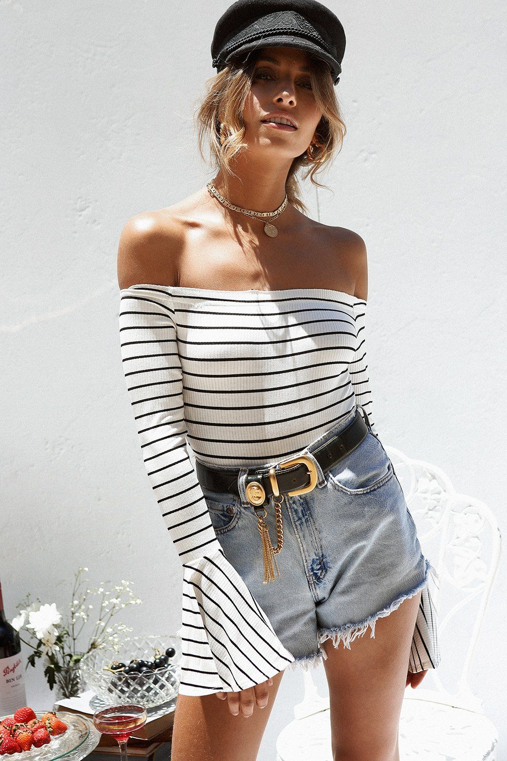 Lace bodysuit with high waisted jeans  Avery Stripe Bodysuit  Striped bodysuit High waisted black jeans