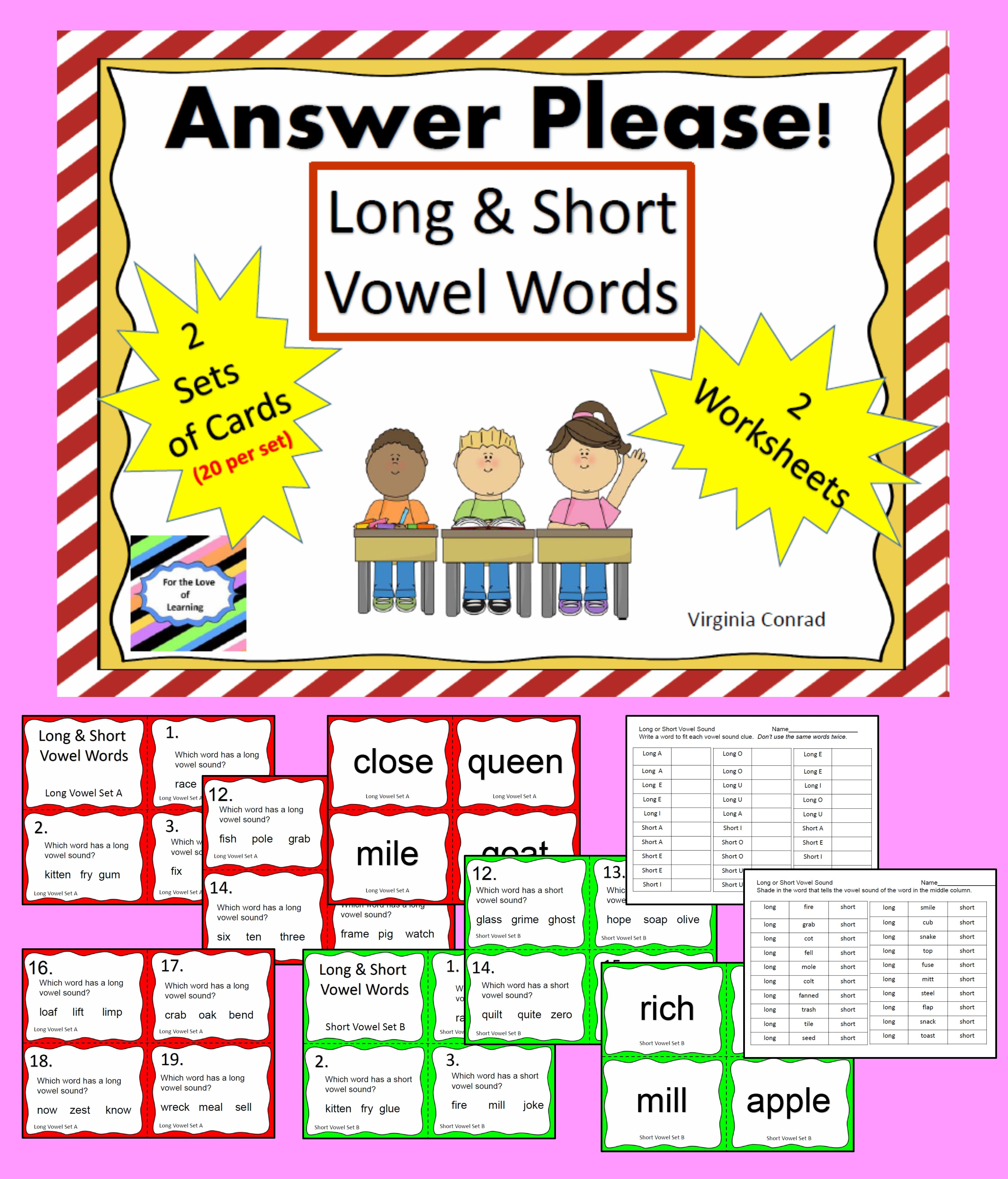 Long And Short Vowel Words Task Cards And More