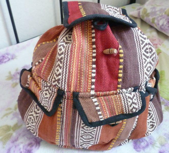 Hippie- Rucksack  Cooler Vintagerucksack im trendy Indien-Style- original frühe 70er/80er   Bunte Webstreifen in schwarz-rotbraun-beigen Tönen ...