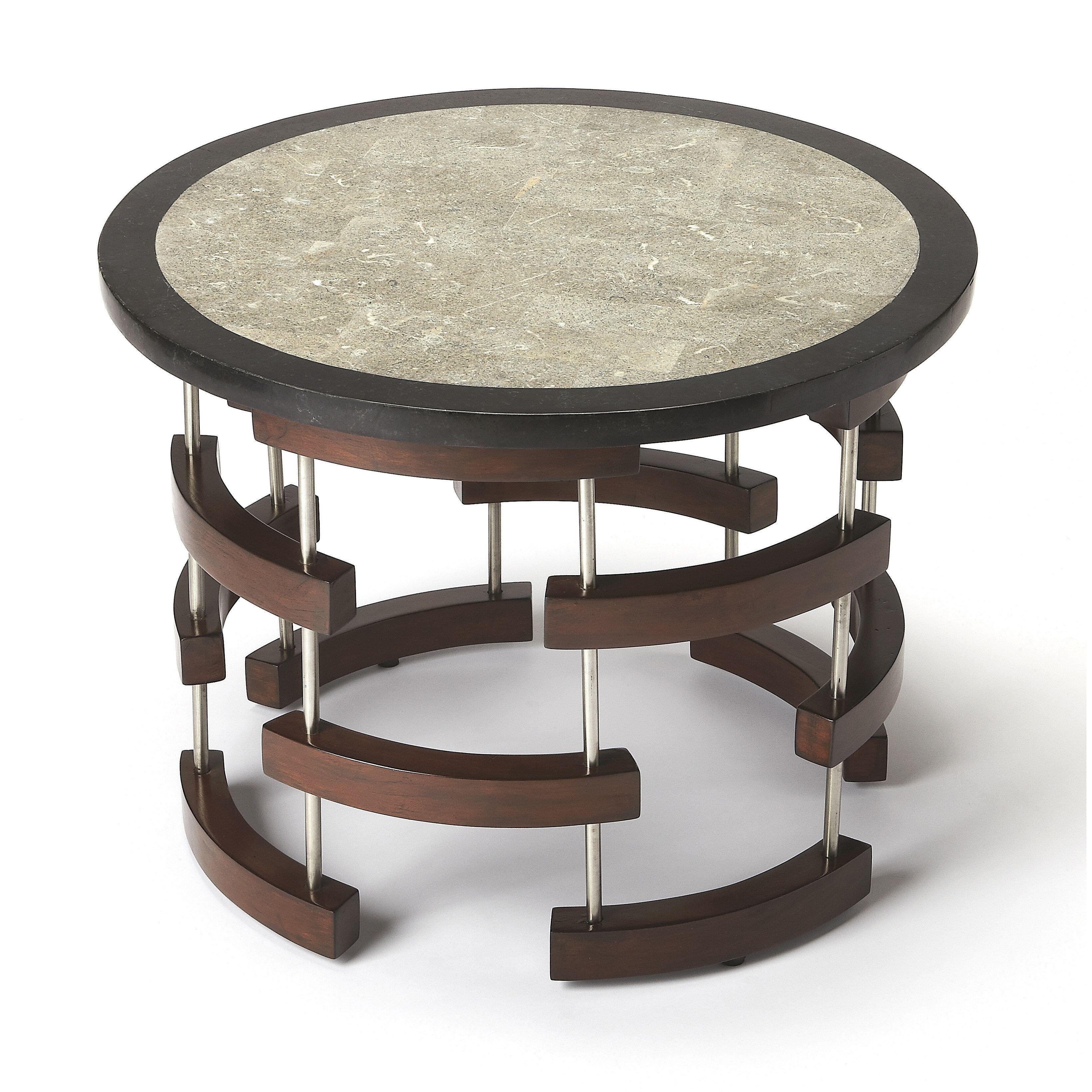 butler broken arcs fossil stone coffee table multi color