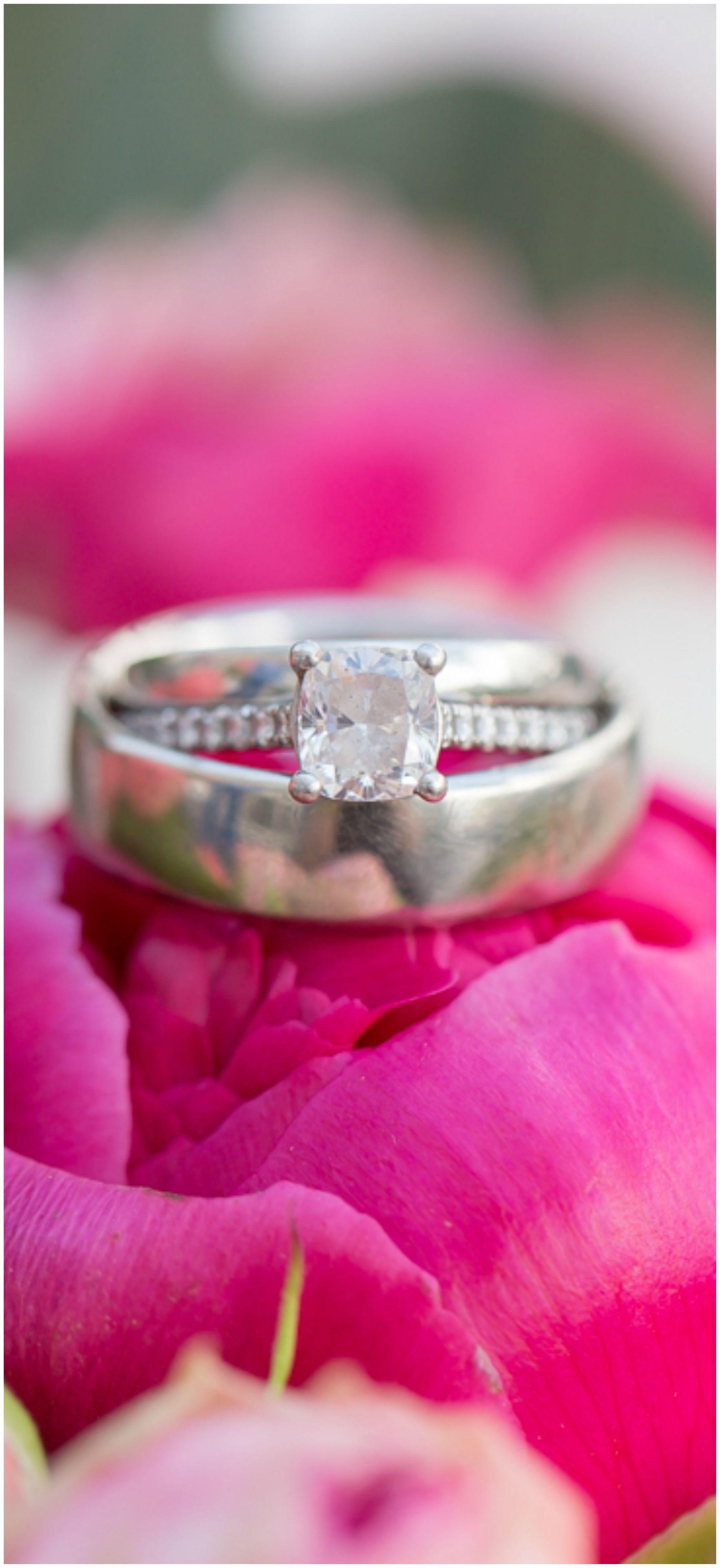 Cushion cut diamond, engagement ring set, pave band, silver ...
