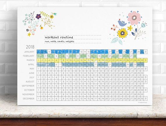 Habit Tracker Printable Monthly Habits 2018 Weight Loss Calendar