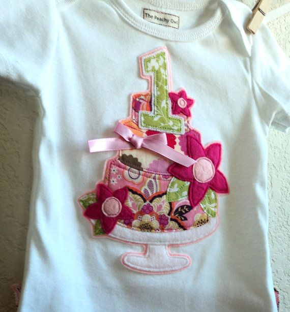 Girls First Birthday Cake Outfit baby one piece by ThePeachyOwl, $31.00
