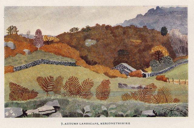 Underbank Farm ASHDALE Woodlands By Kenneth Rowntree 1948 print Derbyshire