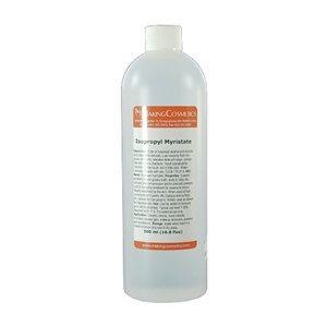 Description: Ester of isopropyl alcohol and myristic acid (vegetable-derived). Low viscosity fluid non-greasy emollient, tolerates wide pH range,