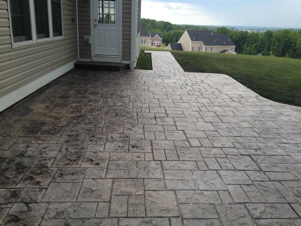 This Photo Shows A Stamped Concrete Patio Using Bon S
