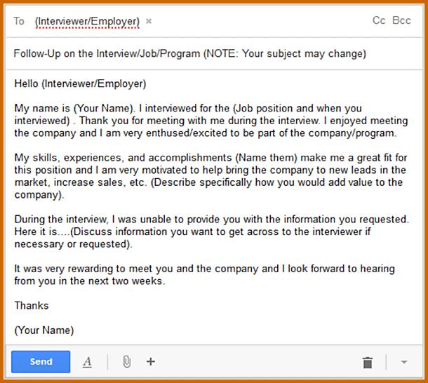 Job Application Follow Up Email Sample Interview Follow Up Email Job Application Email After Interview