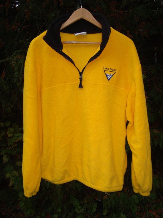 90s Fleece Lake Placid Souveneir Fleece Pullover Yellow Vintage ...