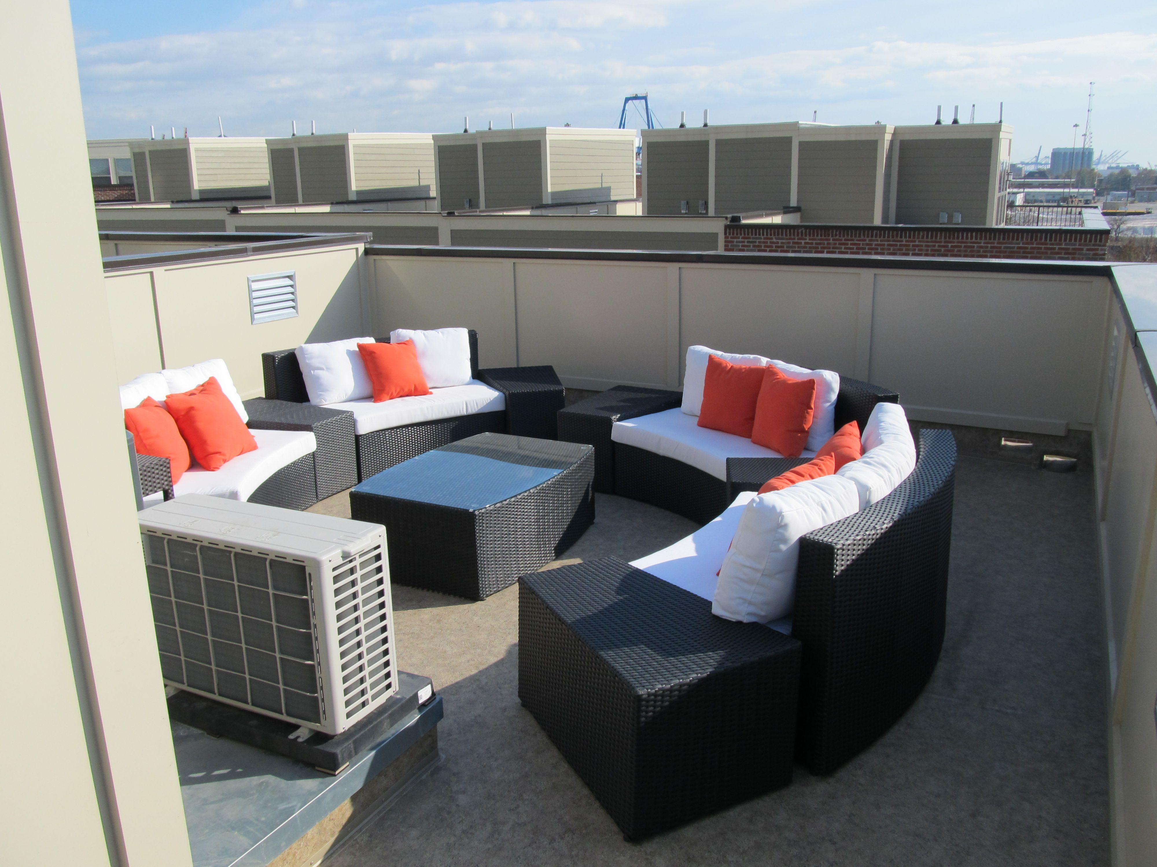 This cozy rooftop deck with duradek cork macchiato outdoor for Exterior linoleum flooring