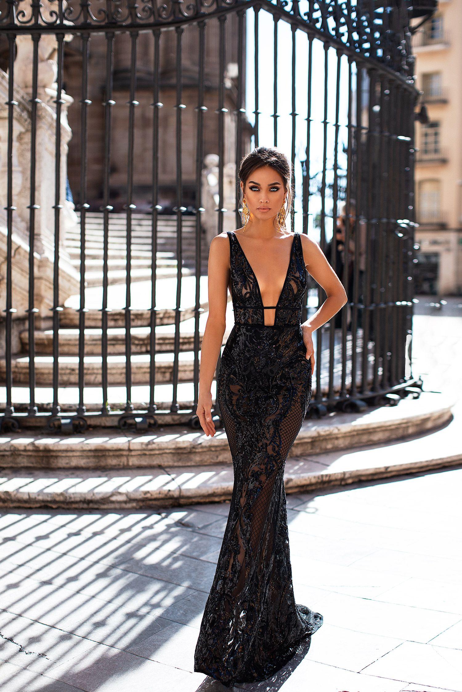 Elyse Black Formal Dresses For Women Black Sequin Dress Women Silk Dress [ 2249 x 1500 Pixel ]