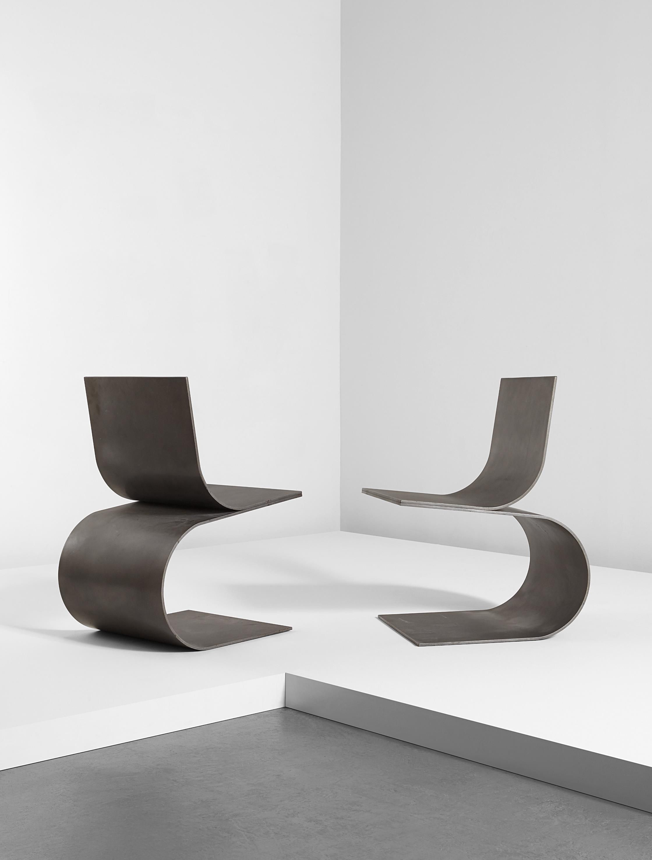 "Scott Burton Pair of ""Two Curve Chairs"" 1989 Lacquered hot rolled steel"