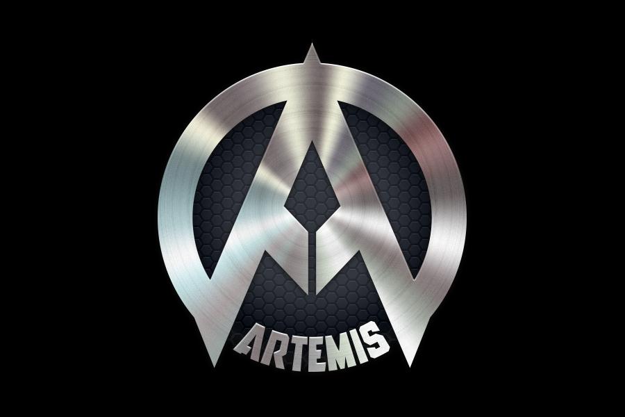 Brushed Metal Artemis Symbol With Honeycomb Background 7 Virtues