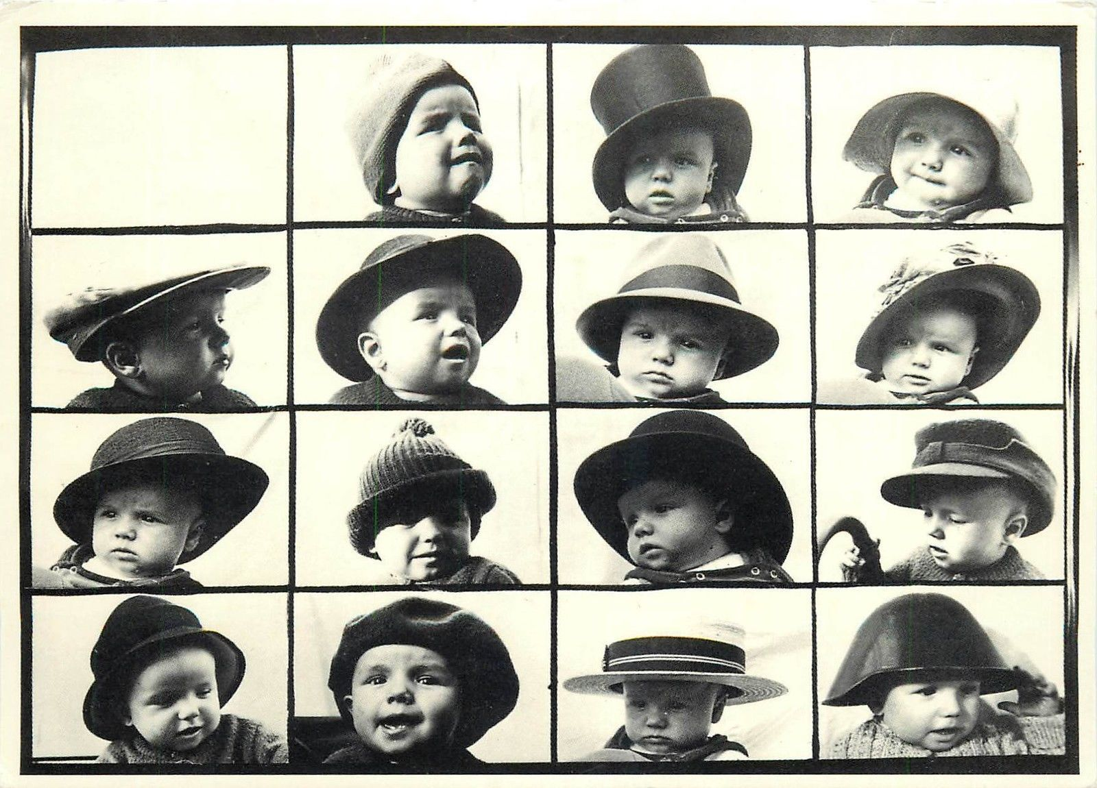 Multiple Babies With Hats Postcard | eBay