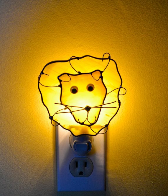 Eli the Lion  Stained Glass Nightlight by dortdesigns on Etsy, $16.75