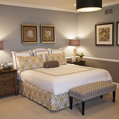 Two tone wall with chair rail bedroom decor brown on bottom and a light beige or light green on Brown walls in master bedroom