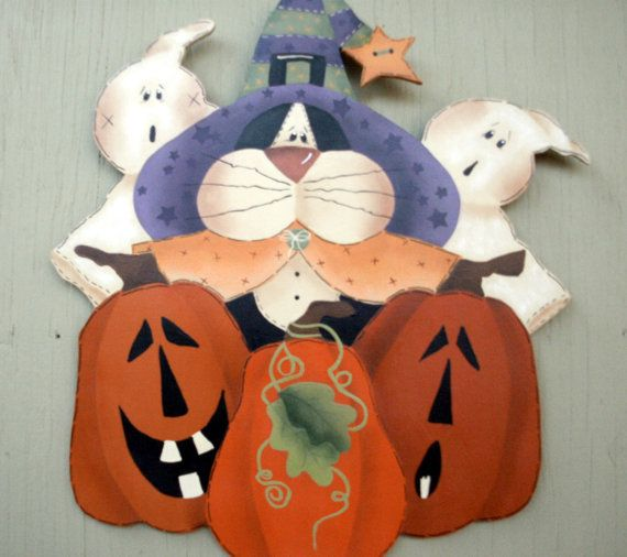 Halloween holiday, decoration, pumpkins, ghosts, black cat, hand - halloween arts and crafts decorations