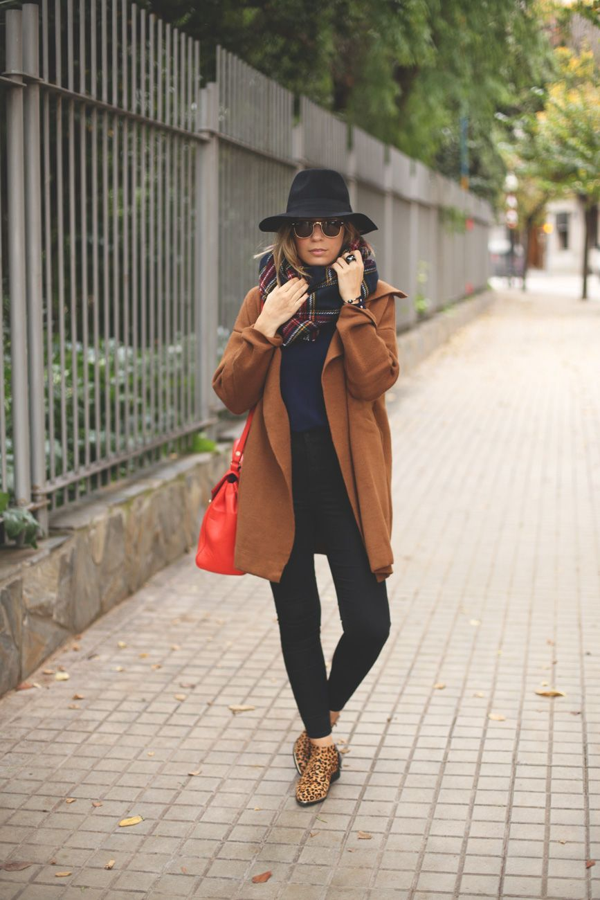 a9016ef7d834 ... a brown coat from Sheinside, black jeans from Topshop, dark blue sweater  and red bag from Zara, leopard print shoes from Senso, red scarf from Pull  Bear ...