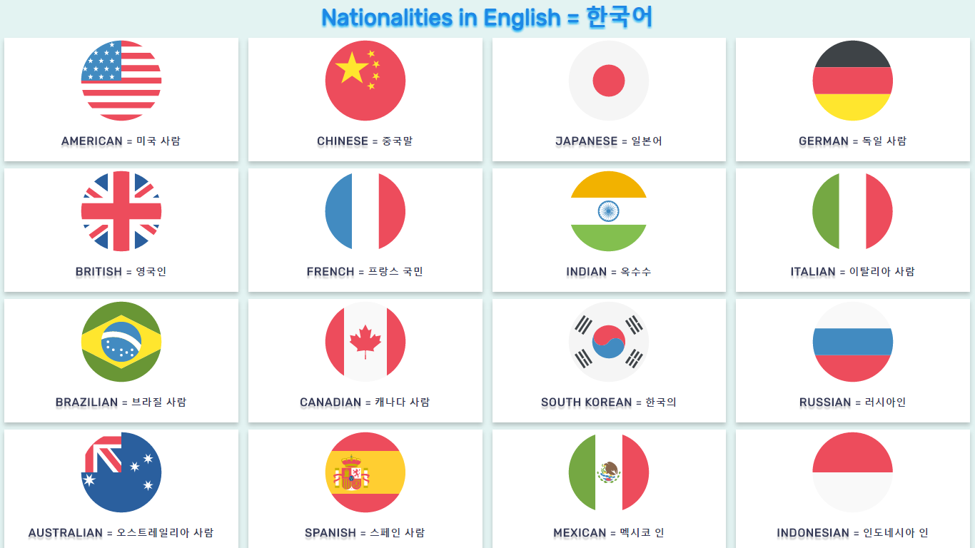 Nationalities In English And Korean List